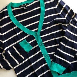 Forever 21 Striped V-neck Cardigan (Women's M)